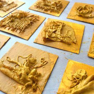 Yellow Powertex mini art with fabric textures