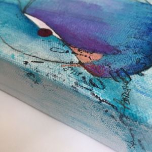 Close up of edge of Curious Tales mixed media artwork painting with mark making going around the edge