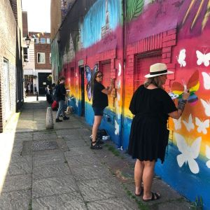 Mural painting at Clarkes in July 2021