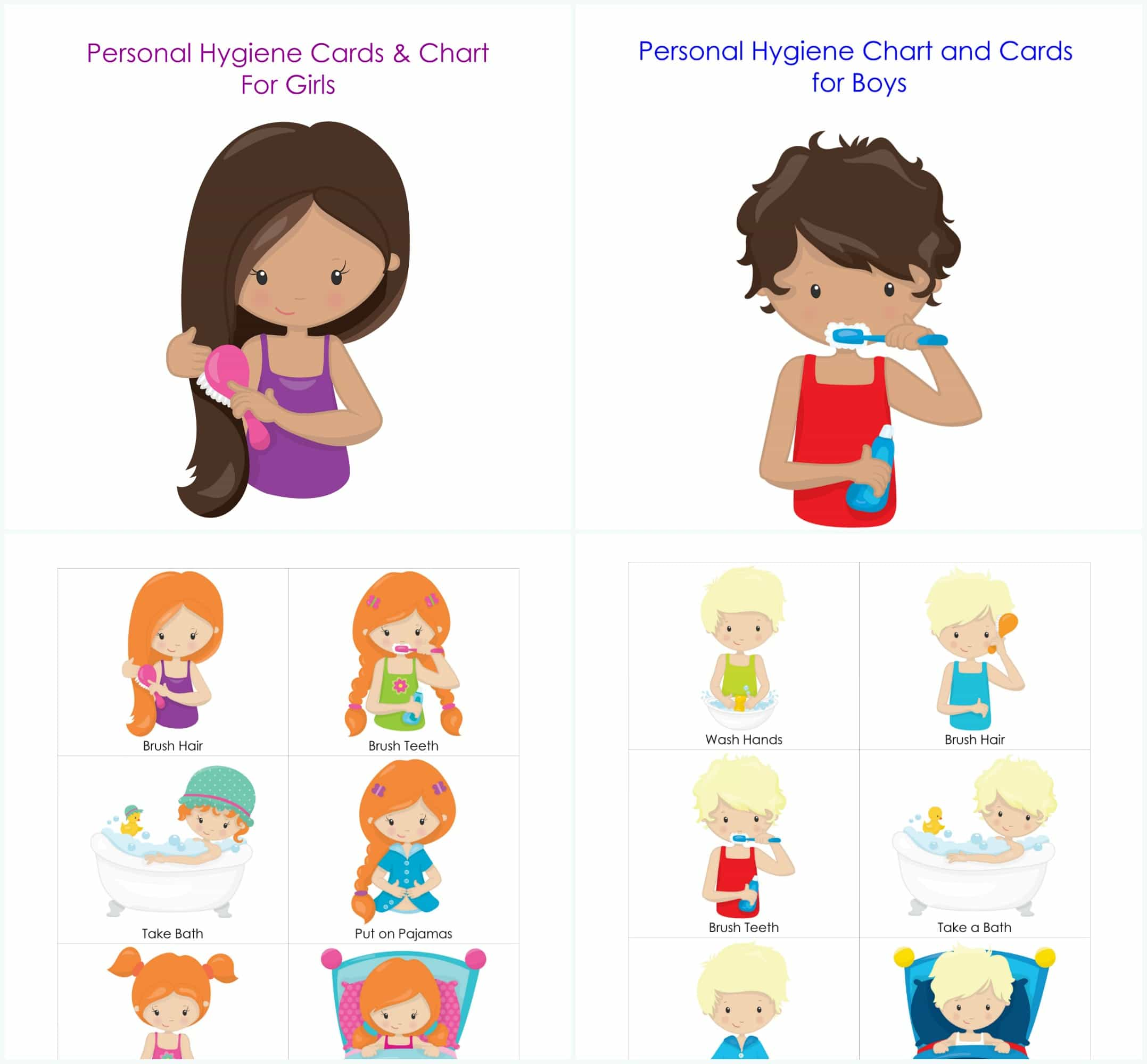 Personal Hygiene And Bedtime Routine Chart And Cards For Girls And Boys