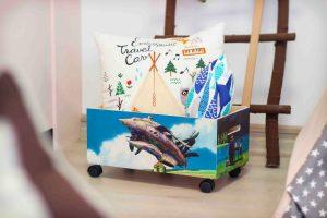 034 Ящик для игрушек фанерный на колесах «Ходячий замок» 50х30х20