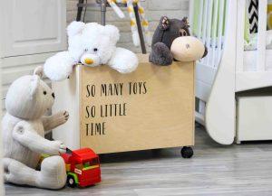 038 Ящик для игрушек фанерный на колесах «Биль Тойс» 50х35х35