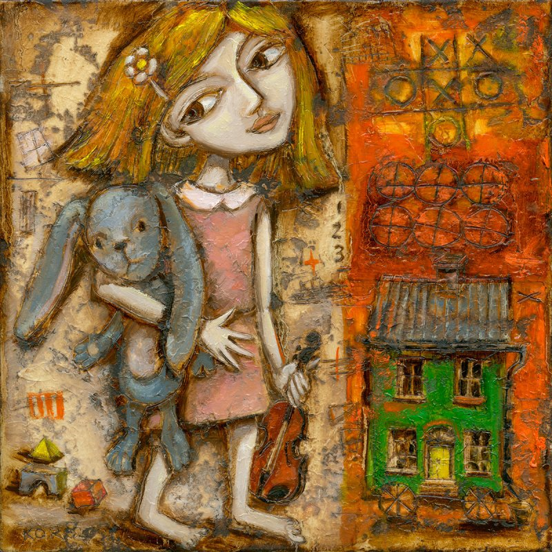painting print of a little girl holding a large stuffed rabbit cuddly. She is also holding a small violin and wearing a pink dress. toy