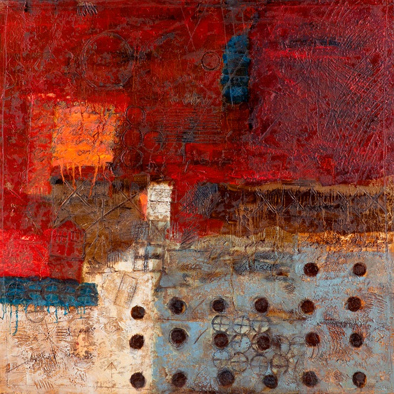 Red with Orange Square abstract painting
