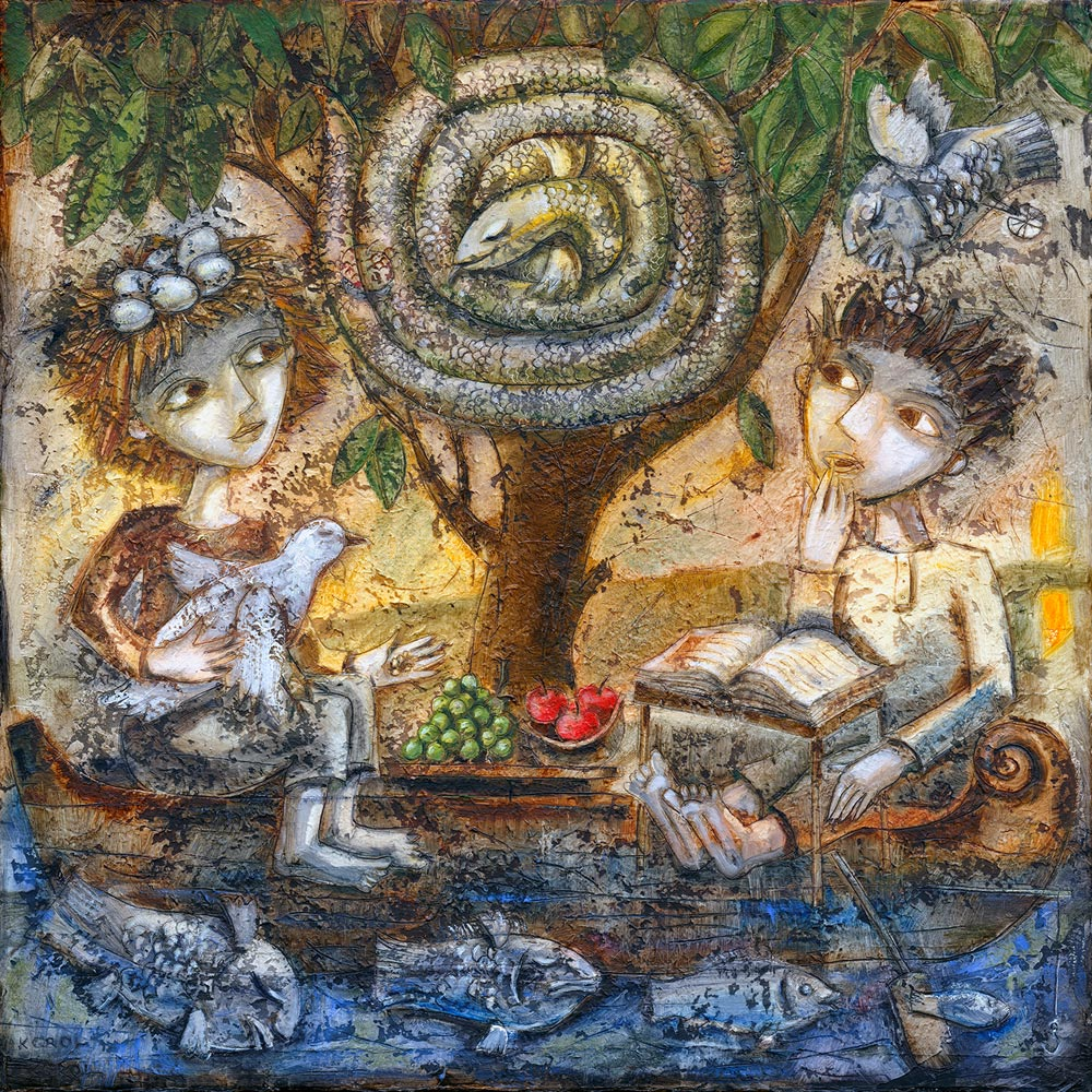 Adam and Eve on a journey in a boat with a serpent and a holy book. Original painting and print