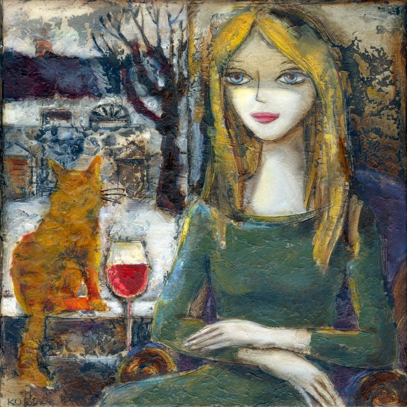 painting of girl with cat and glass of red wine now for sale as fine art limited edition print
