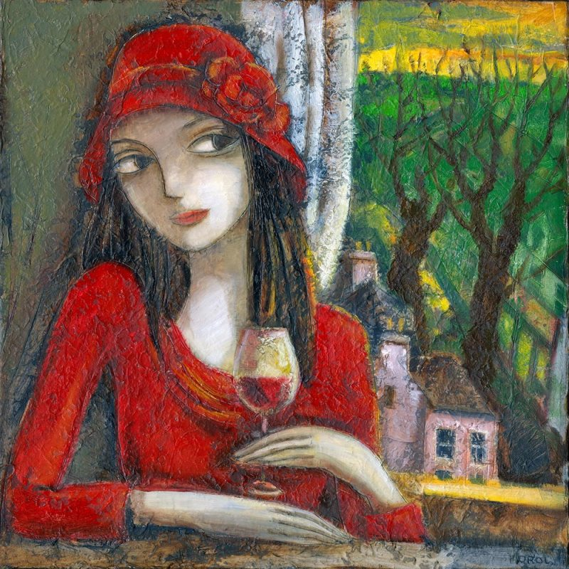 Painting by Irish Artist of a girl in red dress and red hat drinking red wine.