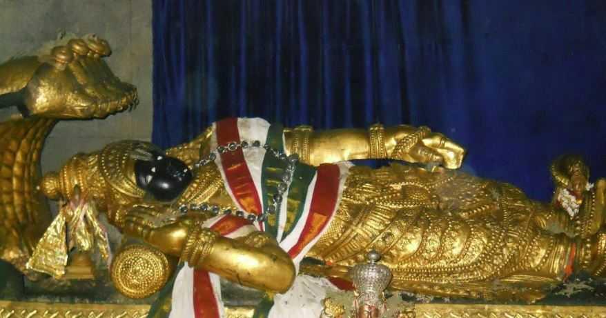 Статуя лежащего Вишну храма Падманабхасвами, из чистого золота.