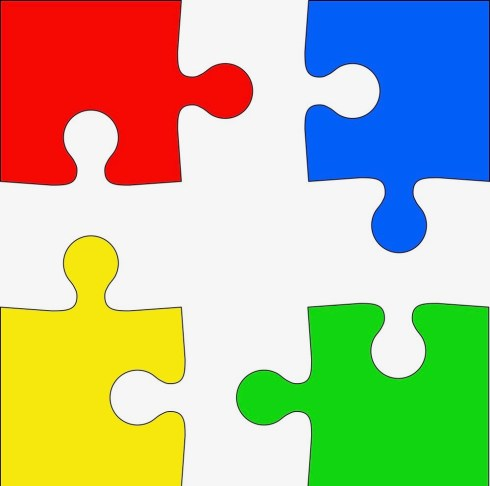 four-colored-puzzle-pieces-on-white-background-vector-39684952