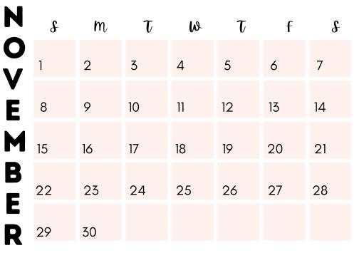 Pretty and modern November 2020 calendar