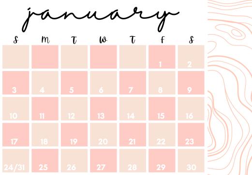 January 2021 calendar pink
