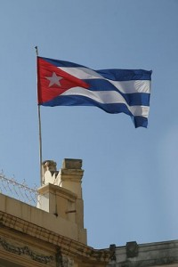 Cuban flag with infrastructure