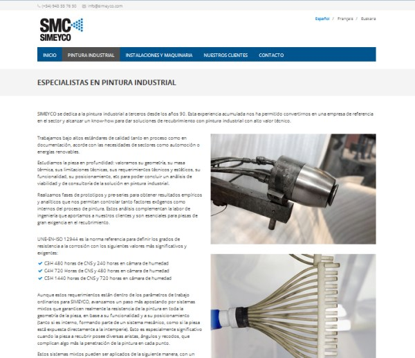 simeyco web de recubrimientos metalicos