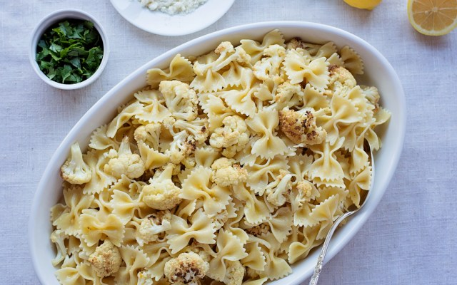 Farfalle with Roasted Cauliflower in Lemon Garlic Sauce