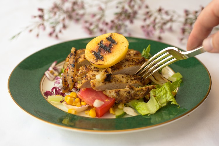 Grilled Chicken, Peach & Onion Salad