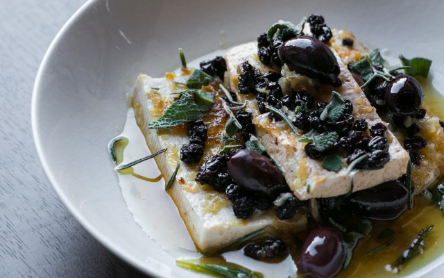 Tofu with Currants, Olives and Herbs