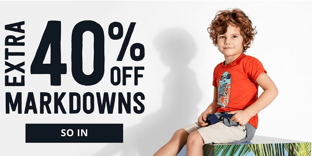 Crazy8 30% + 40% off Markdowns