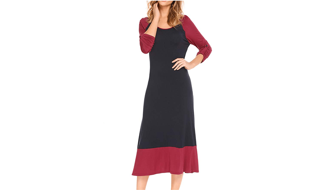 b9515623e63 Idingding Long Maxi Dress, Womens Long Sleeve Empire Waist Pleated Loose  Casual T-Shirt Dress, Long Sleeve White Plum, S. Price: Check on Amazon. ‹  › Amazon ...