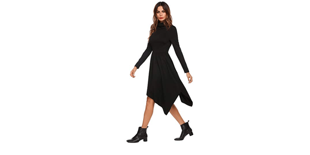 Amazon COUPON: Hersife Irregular Hem Turtle Neck Dress
