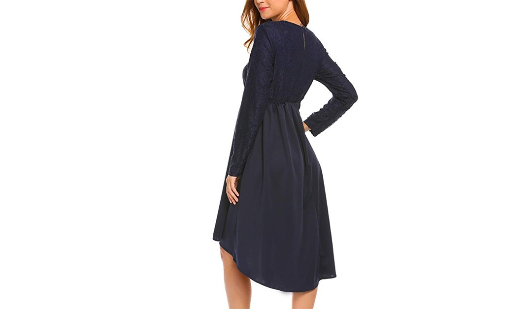 Amazon COUPON: Vintage Floral Long Sleeve High-Low Dress
