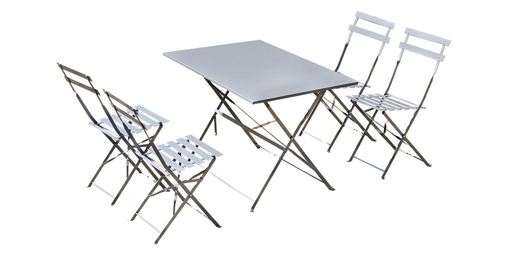 Amazon BEST PRICE: 5 Piece Outdoor Folding Table and Chairs