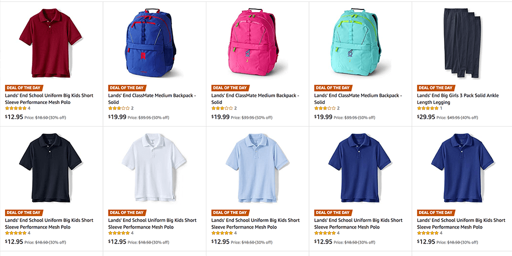 Amazon   DEAL OF THE DAY: Lands' End Back Packs, Polos, & Leggings