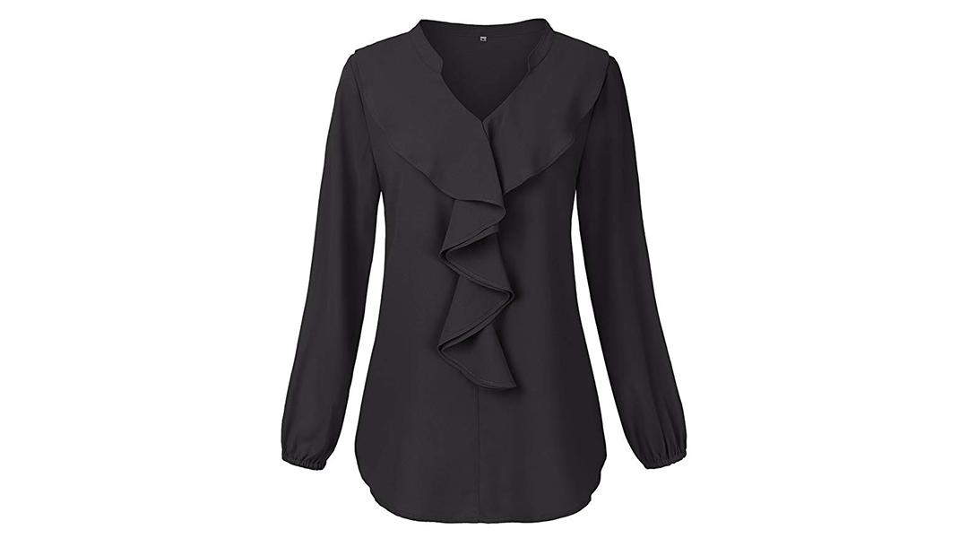Amazon | BEST PRICE + COUPON: Ruffled V-Neck Chiffon Shirt