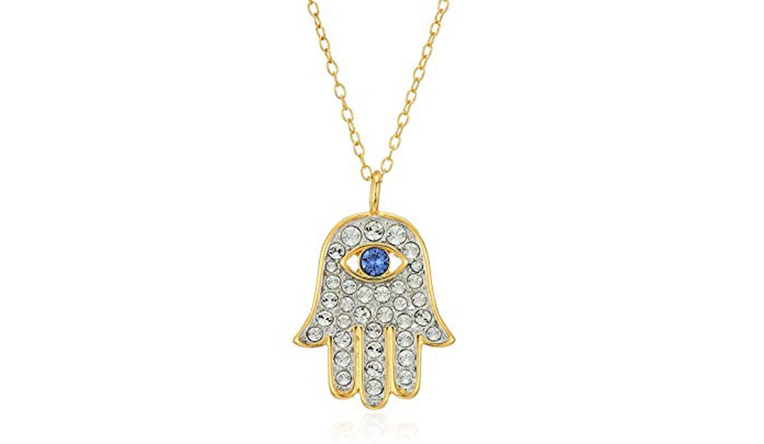 Amazon | BEST PRICE: 18k Yellow Gold Plated Sterling Silver Blue and White Hamsa Hand Necklace Made with Swarovski Crystal