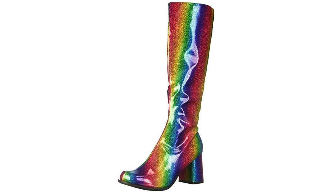 Amazon | BEST PRICE: Ellie 300 Knee-High Rainbow Glitter Boots
