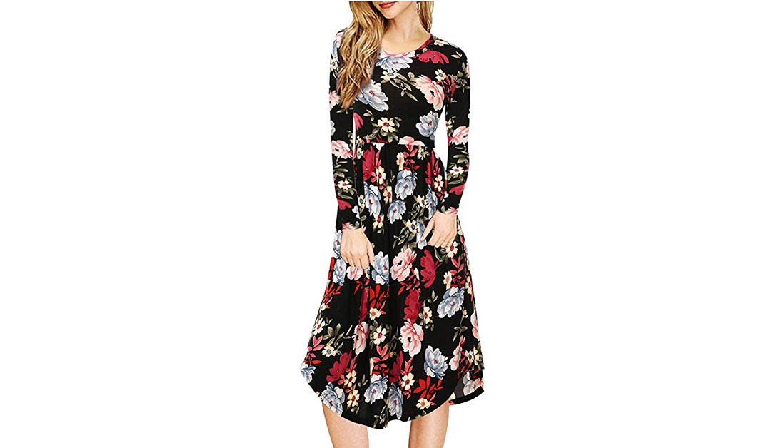 Amazon | BEST PRICE: Mixfeer Floral Dress with Pockets