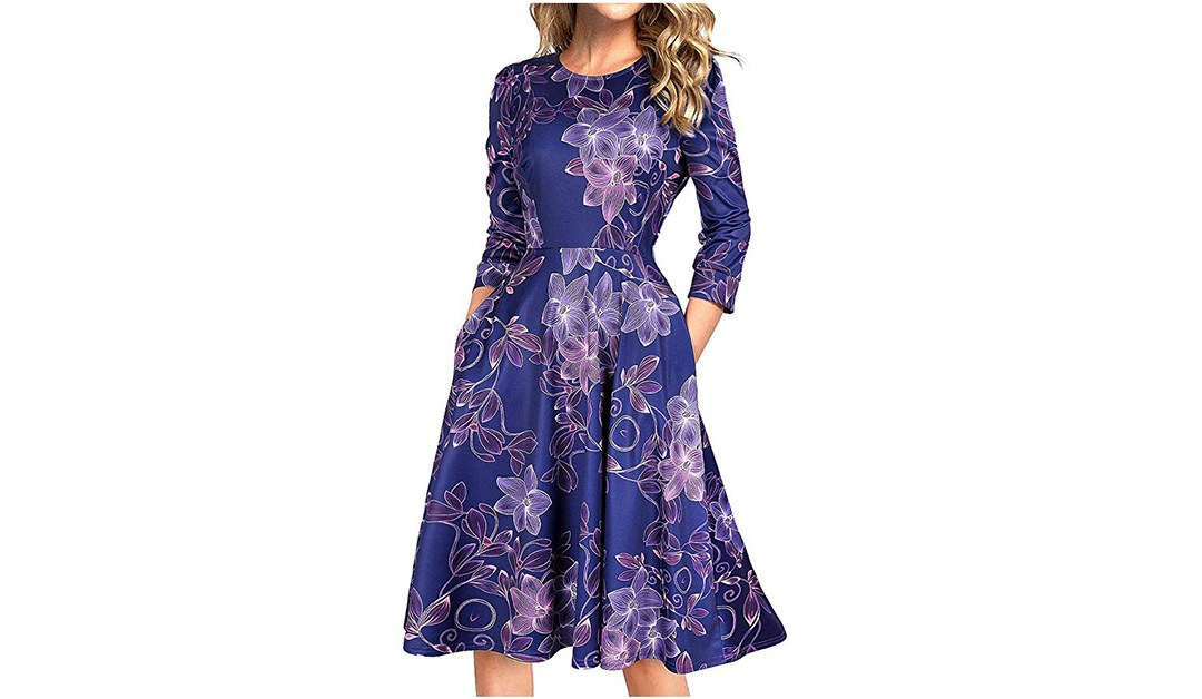 Amazon | BEST PRICE: MARI CIAS Women's Vintage Dress 3/4 Sleeve Midi Swing Dresses with Pockets