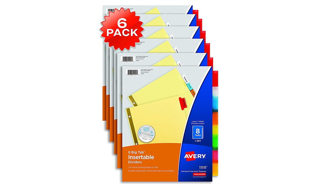 Amazon | BEST PRICE: Avery 8 Tab Binder Dividers, 6-Pack