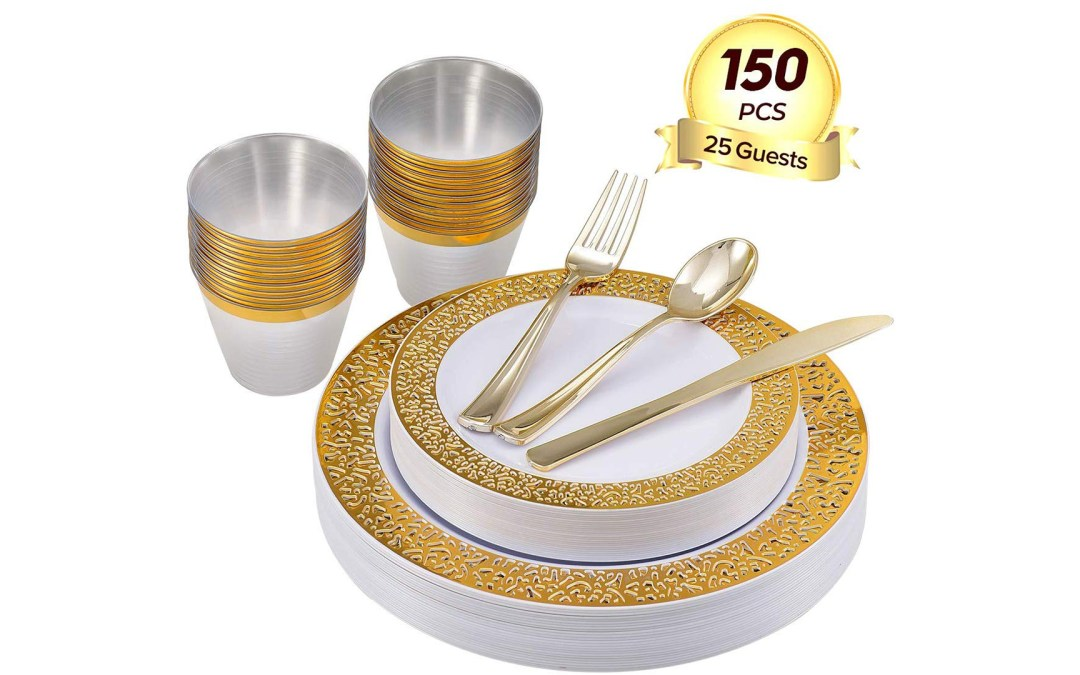 Amazon | BEST PRICE + COUPON: Plastic Dinnerware Set For Party Wedding 150PCS 25 Guests
