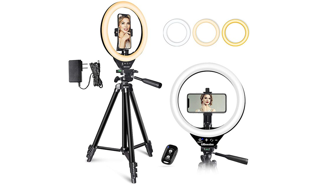 Amazon | BEST PRICE + COUPON: 10'' LED Ring Light with Stand and Phone Holder, UBeesize Selfie Halo Light for Photography/Makeup/Vlogging/Live Streaming, Compatible with Phones and Cameras