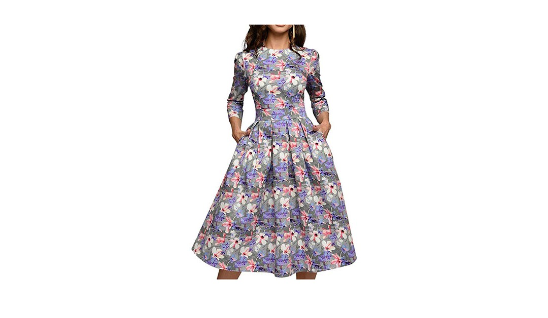 Amazon | BEST PRICE: Simple Flavor Women's Floral Evening Flare Vintage Midi Dress 3/4 Sleeve