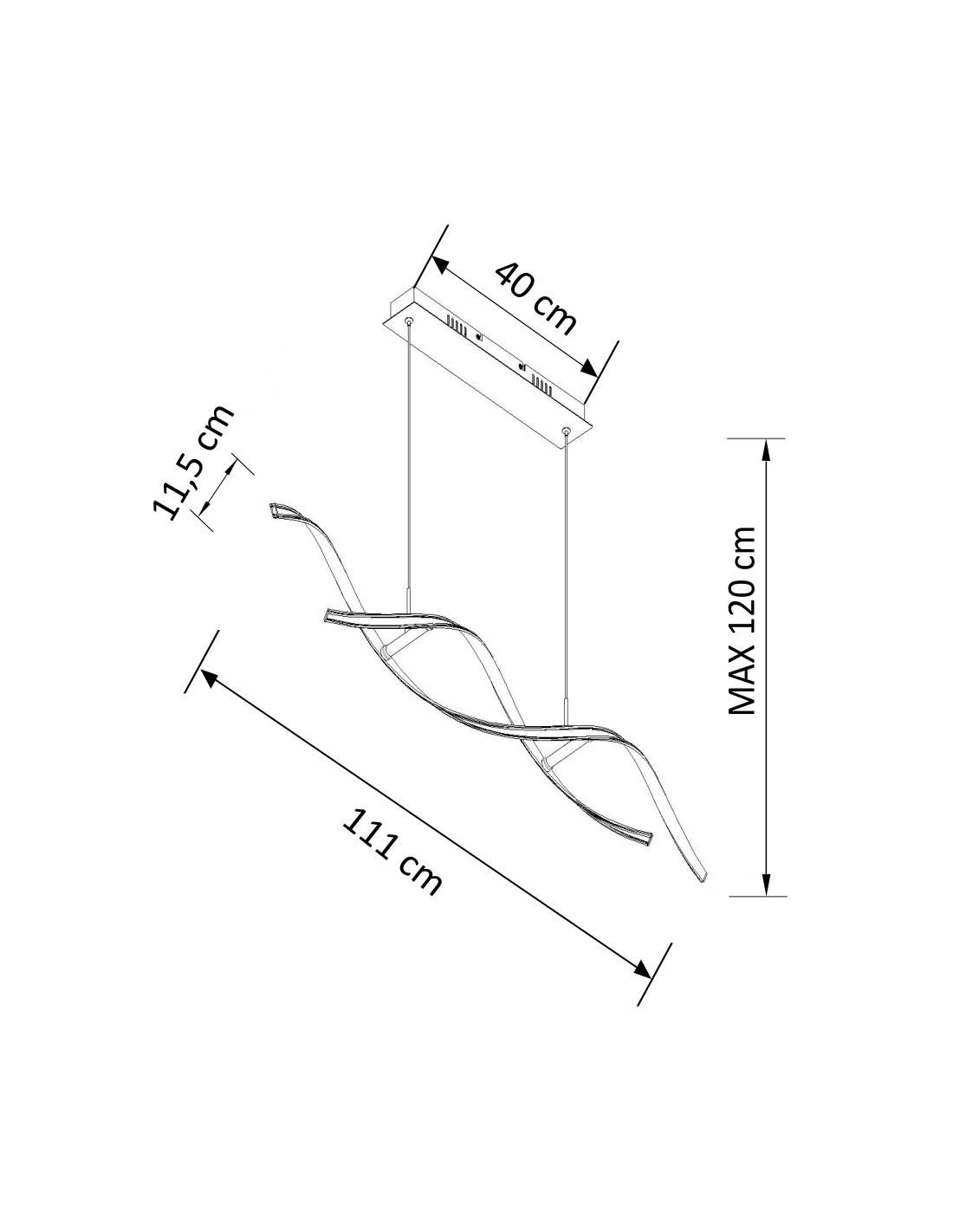 Pendant Light Led Design 2 Long Wavy Bars 110 Cm 20w