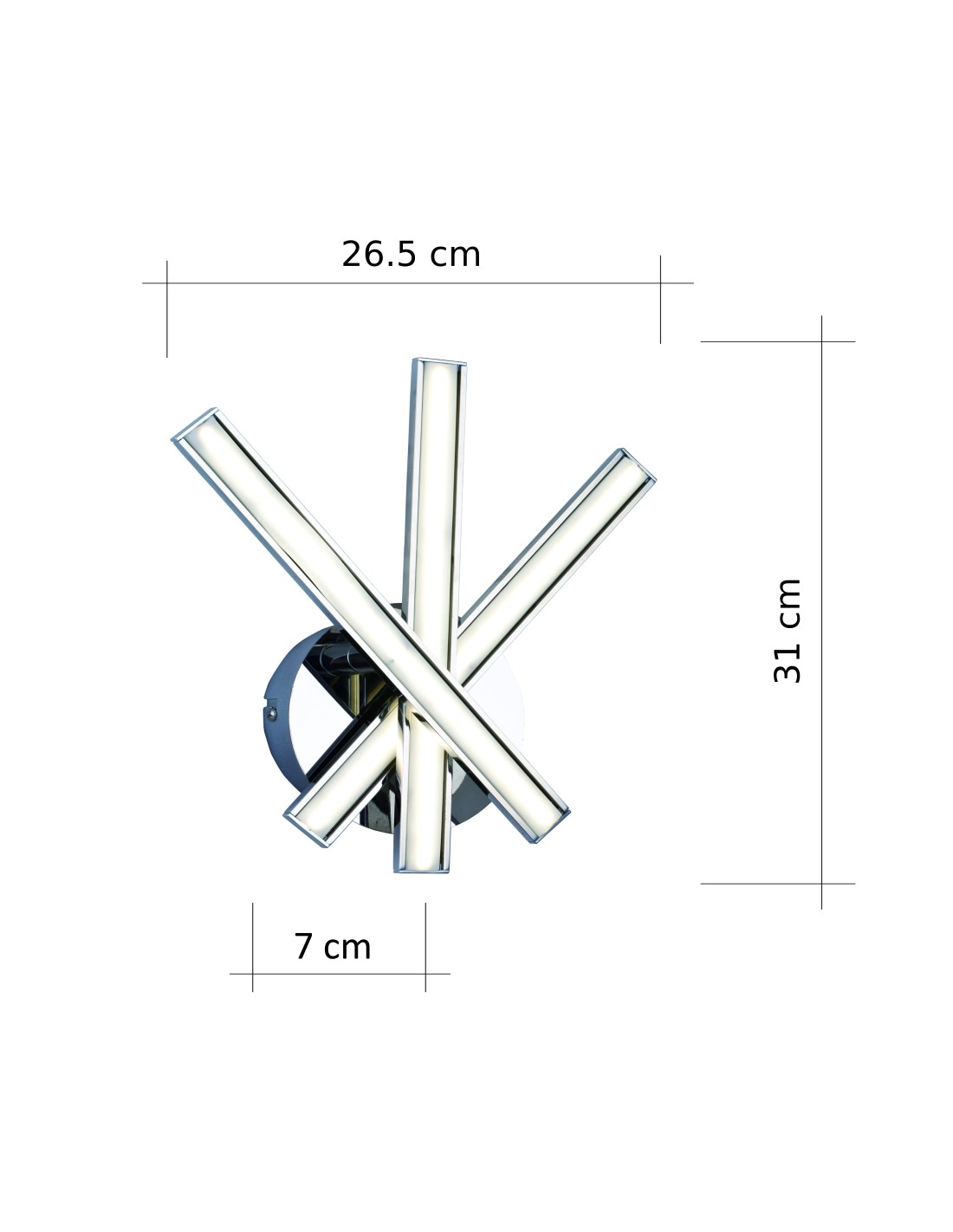 Wall Light Design Led 3 Arms Chromed Silver 9w