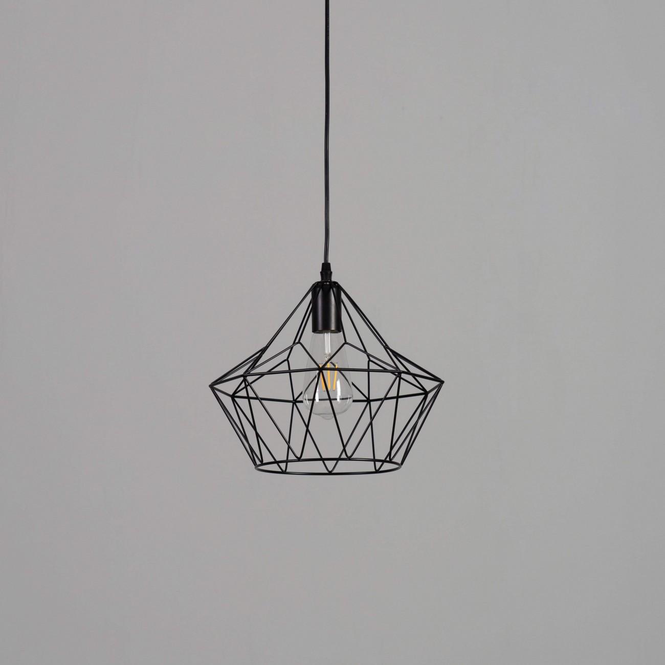 Industrial Pendant Light Metal Black Cage E27