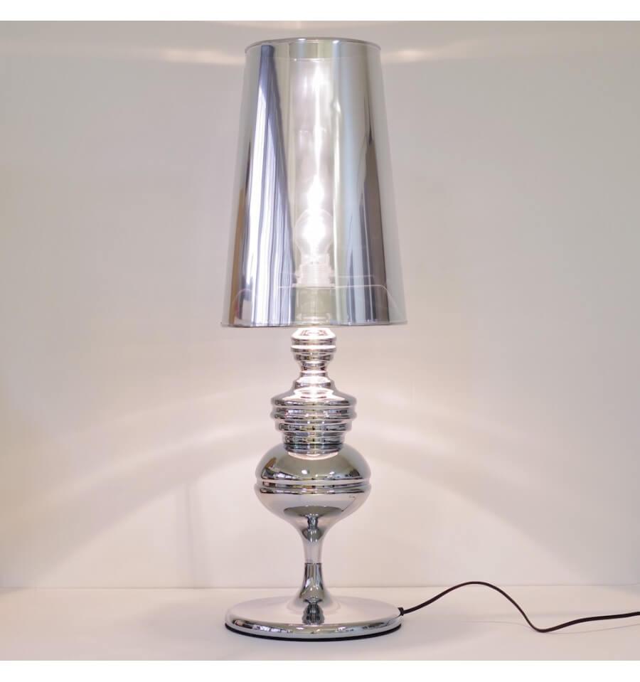 Lampe De Chevet Design Argente E27 Hano
