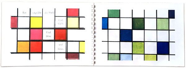 Die Großstadt. Ein modernes Kunstbuch für Kinder, 1995, Aquarell (Farbkopien Papier und Folie), 21 x 30 cm