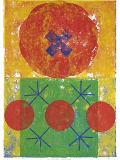 Alchymische Isometrie, 2018, Linoldruck auf Digitaldruck, 44 x 31 cm