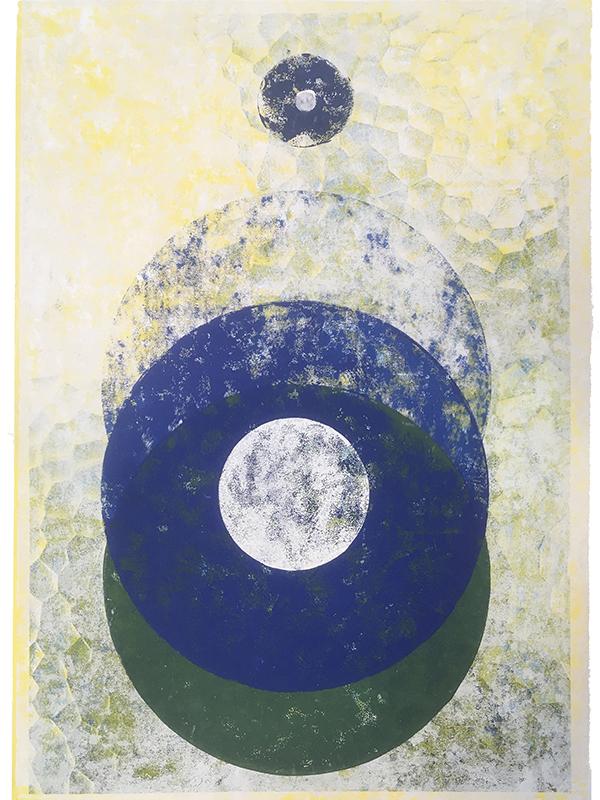 Blauverschiebung, 2019, Linoldruck auf Digitaldruck, 42 x 29,7 cm