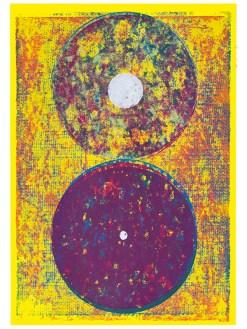 Orbes, 2019, Linoldruck auf Digitaldruck, 46 x 32 cm