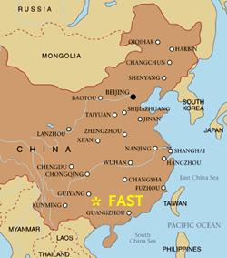 Położenie FAST na mapie Chin / Credit: Sky & Telescope