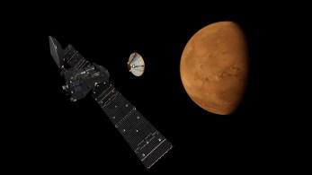 Odłączenie modułu EDM Schiaparelli od sondy ExoMars 2016 - wizualizacja / Credit: ESA, ATG Medialab