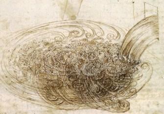 Ruční nákres turbulentního proudění jak jej zachytil Leonardo da Vinci