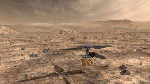 Vizualizace dronu (helikoptéry) na Marsu.