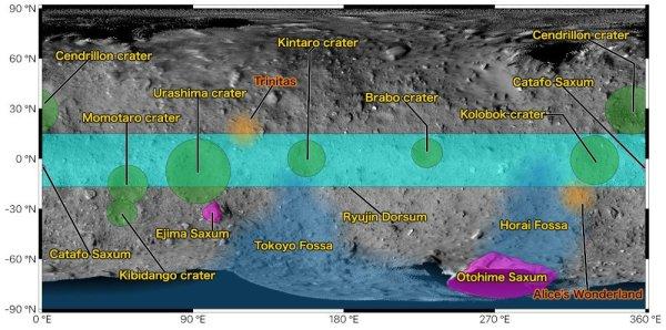 Nové pojmenování oblastí na planetce Ryugu