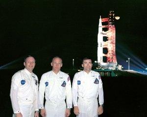 Záložní posádka Apolla 8 v prosinci 1968 (zleva): Neil Armstrong, Edwin Aldrin a Fred Haise.