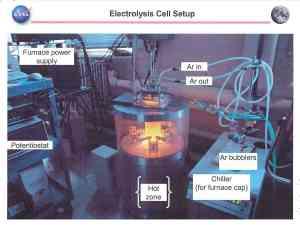 Snímek ze staršího experimentu Oxygen and Metals Processing on the Moon.
